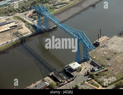 aerial view of the famous Middlesbrough Transporter Bridge, Teesside, UK - Stock Photo