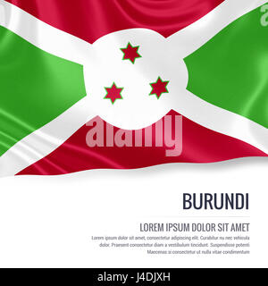 Silky flag of Burundi waving on an isolated white background with the white text area for your advert message. 3D - Stock Photo