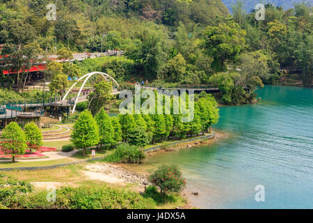 A view of the famous bike lane at Sun Moon Lake, Taiwan - Stock Photo