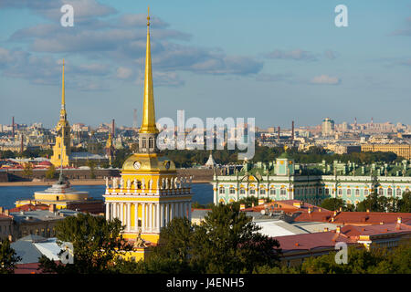 Overview of the Winter Palace, the Admiralty, and the St. Peter and Paul Fortress, St. Petersburg, Russia - Stock Photo