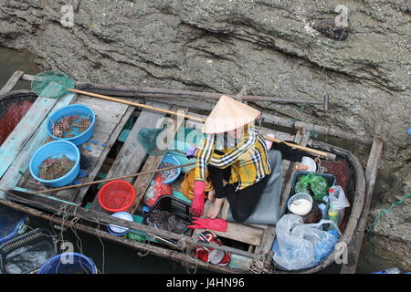 Vietnamese fish seller, ha Long Bay, Vietnam - Stock Photo