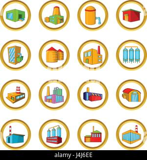 Factories vector set, cartoon style - Stock Photo
