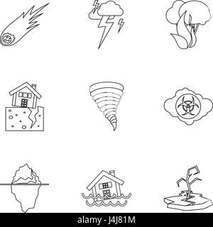 Natural disasters icons set, outline style - Stock Photo