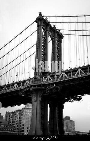 Mahattan Bridge in black and white - Stock Photo