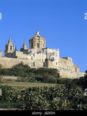 Malta, Mdina, town view, St. Paul's church, back island state, island, the Mediterranean Sea, Rabat, cathedral, - Stock Photo