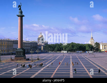 Russia, Saint Petersburg, castle square, Alexander's pillar, Isaak's cathedral, admiralty, town, square, person, - Stock Photo