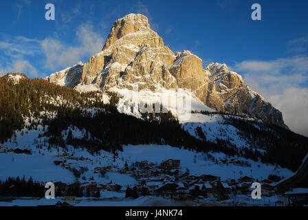 Italy, South Tirol, high abbey valley, Alta Badia, Corvara, local view, sundown, winter, mountains, mountain landscape, - Stock Photo