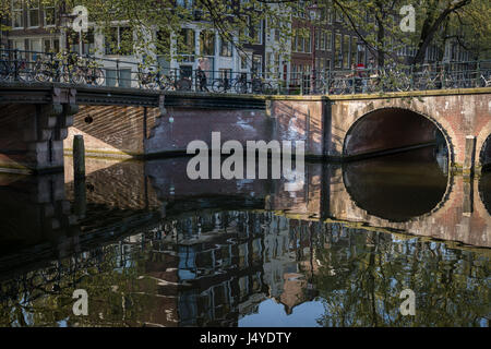 Bridges and bicyles on the Brouwersgracht canal, Amsterdam - Stock Photo