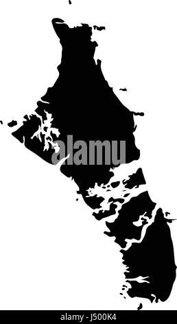 Detailed detailed vector map - Bahamas on white background - Stock Photo
