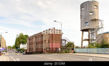 London, England - July 10, 2016: The prominent house built by Tom Dixon on a disused water tower beside the Grand - Stock Photo