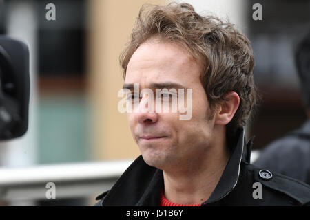 Coronation Street actor Jack P. Shepherd takes a quick break from filming to support the Manchester Duck Race in - Stock Photo