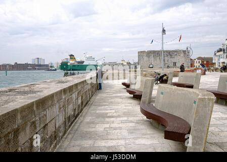 Old Portsmouth fortifications Portsmouth Harbour Hampshire UK - Stock Photo