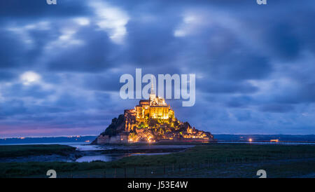 France, Normandy, evening view of Mont Saint-Michel - Stock Photo