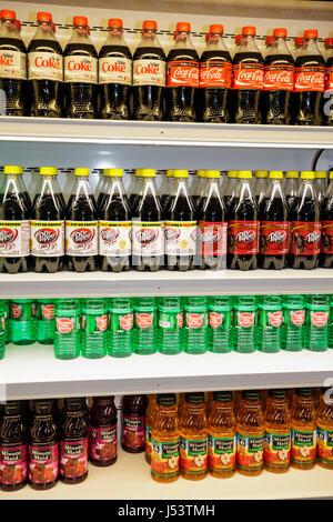 Little Rock Arkansas The Peabody Little Rock hotel sundry shop soft drink product display refrigerator shelves Coca - Stock Photo