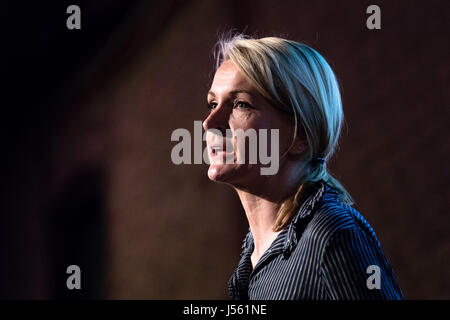London, UK. 15th May 2017. Sophie Walker, leader of the Women' Equality Party speaks at the Progressive Alliance - Stock Photo
