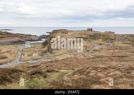 Cove Battery WWII WW2 lookouts at Rubha Nan Sasan, Loch Ewe, Wester Ross, Scotland, UK - Stock Photo