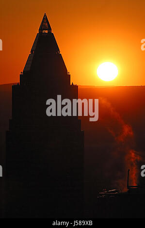 messeturm frankfurt sunset no.2 - Stock Photo