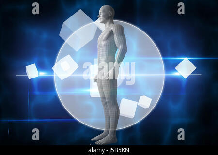 Full length of digital gray 3d man against blue technology design with circle - Stock Photo