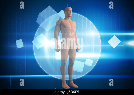 Full length of composite brown 3d woman against blue technology design with circle - Stock Photo