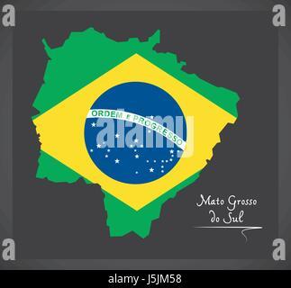 Mato Grosso do Sul map with Brazilian national flag illustration - Stock Photo