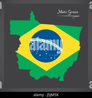 Mato Grosso map with Brazilian national flag illustration - Stock Photo