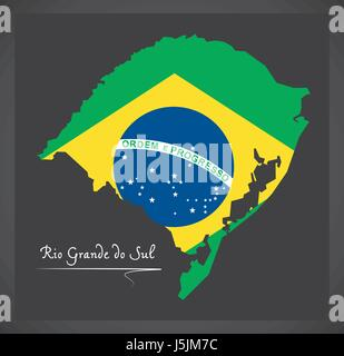 Rio Grande do Sul map with Brazilian national flag illustration - Stock Photo