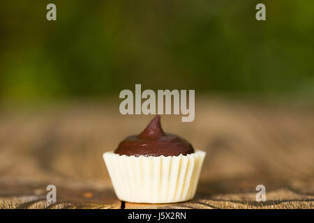Set of chocolate candies with a fondant. Close up on the wooden background. - Stock Photo