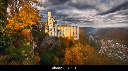 Lichtenstein Castle, Honau, Swabian Alb, Baden-Wuerttemberg. Germany. - Stock Photo