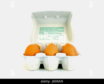 brown brownish brunette egg chicken eggs chickens hens cardboard carton packing - Stock Photo