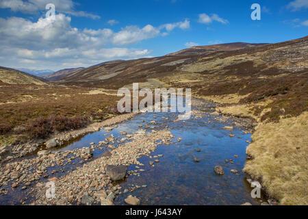 Callater Burn near Loch Callater beneath the mountain of Creag Nan Gabhar near Braemar, Aberdeenshire, Scotland, - Stock Photo