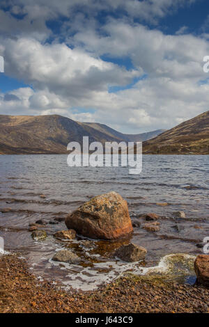 Loch Callater near the mountain of Creag Nan Gabhar near Braemar, Aberdeenshire, Scotland, UK - Stock Photo