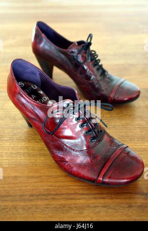 heel timber flooring stand shoe walk go going walking macro close-up macro - Stock Photo