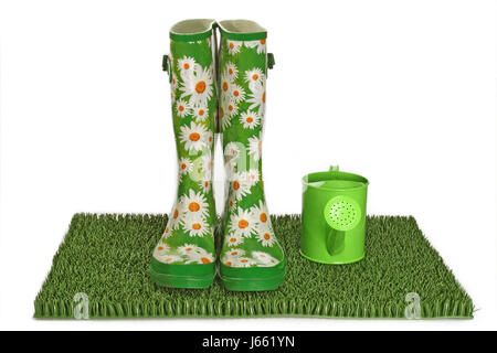 boot rubber boot flowered boot green coloured colourful gorgeous multifarious - Stock Photo
