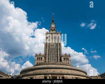 Warsaw, Poland - 30 May 2016 - Palace of Culture and Science in Warsaw, Poland, on a sunny day with blue sky above. - Stock Photo