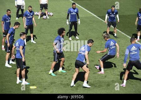 Madrid, Spain. 20th May, 2017. Real Madrid's player during the traininig of the team held at Valdebebas Sport Complex - Stock Photo