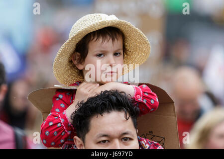 Bristol,UK. 20th May, 2017. A young girl is pictured as she take part in a protest march in Bristol,the march was - Stock Photo