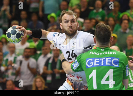 Göppingen's Marcel Schiller (L) in a duel against Magdeburg's Jacob Bagersted during the German EHF-Cup handball - Stock Photo