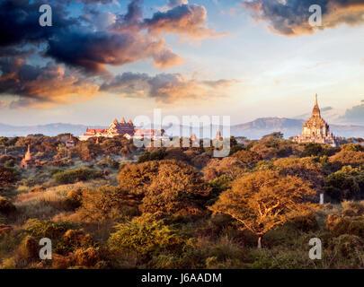 Stock Photo - balloons over the Temples of Bagan at dawn, Myanmar (Burma - Stock Photo