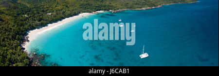 Aerial view of Praslin, Seychelles - Stock Photo