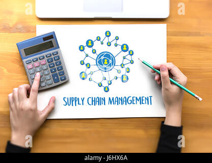SCM Supply Chain Management concept Modern people doing business, graphs and charts being demonstrated - Stock Photo