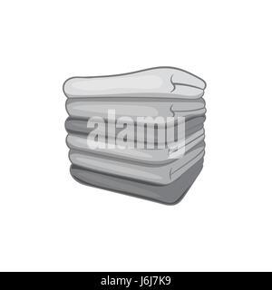 Pile of towels icon, black monochrome style - Stock Photo