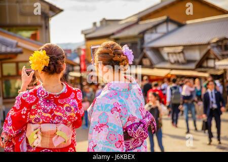 kimono women in Kyoto - Stock Photo