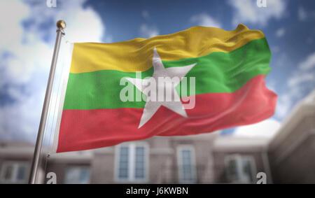 Myanmar Flag 3D Rendering on Blue Sky Building Background - Stock Photo