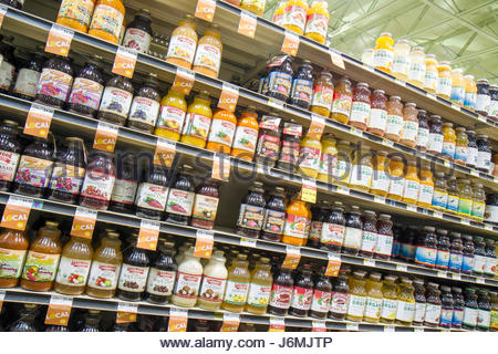Miami Beach Florida Whole Foods Market bottles for sale juice packaging - Stock Photo