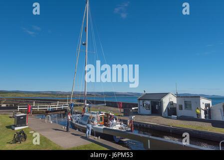 Boats on The Crinan Canal at Ardrishaig Argyll Scotland - Stock Photo