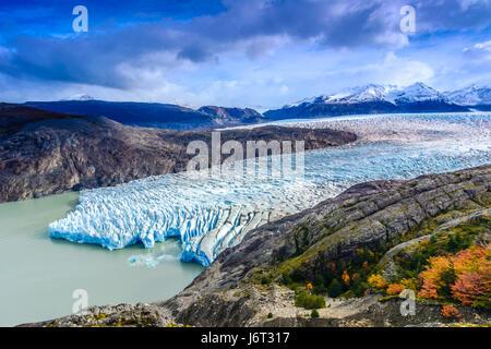 Grey Glacier,Patagonia, Chile - a glacier in the Southern Patagonian Ice Field, Cordillera del Paine - Stock Photo