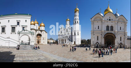 The Cathedral Square of the Moscow Kremlin, site of solemn coronation and funeral of the Russian tsars owing its - Stock Photo
