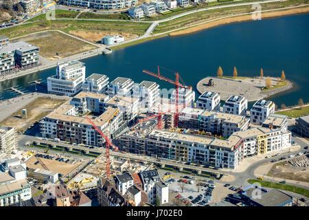 PhoenixSee Dortmund District of Hörde, artificial lake, former steelworks, Dortmund, Ruhr area, North Rhine-Westphalia, - Stock Photo