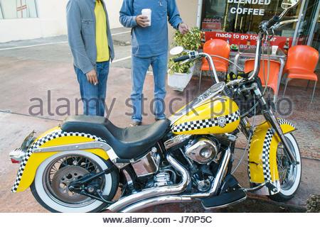 Miami Beach Florida customized motorcycle Checker cab colors - Stock Photo