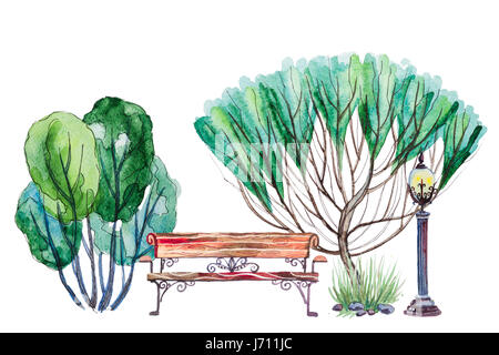 Hand drawn watercolor autumn background with park, outdoor elements: green trees, shrub, bench and lantern, isolated - Stock Photo